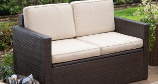outdoor loveseats coral coast berea outdoor wicker storage loveseat with cushions | hayneedle PNPPQNE
