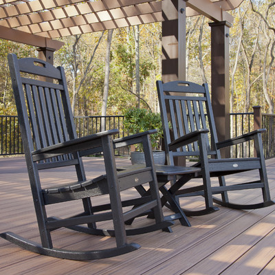 outdoor rocking chair trex trex outdoor yacht club 3 piece rocker set u0026 reviews | wayfair GVTUNMP