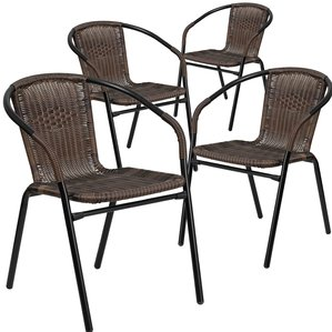 outdoor wicker chairs abrahamic stacking patio dining chair (set of 4) IYNVBBU