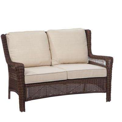 park meadows brown wicker outdoor loveseat ... EYRVGCT