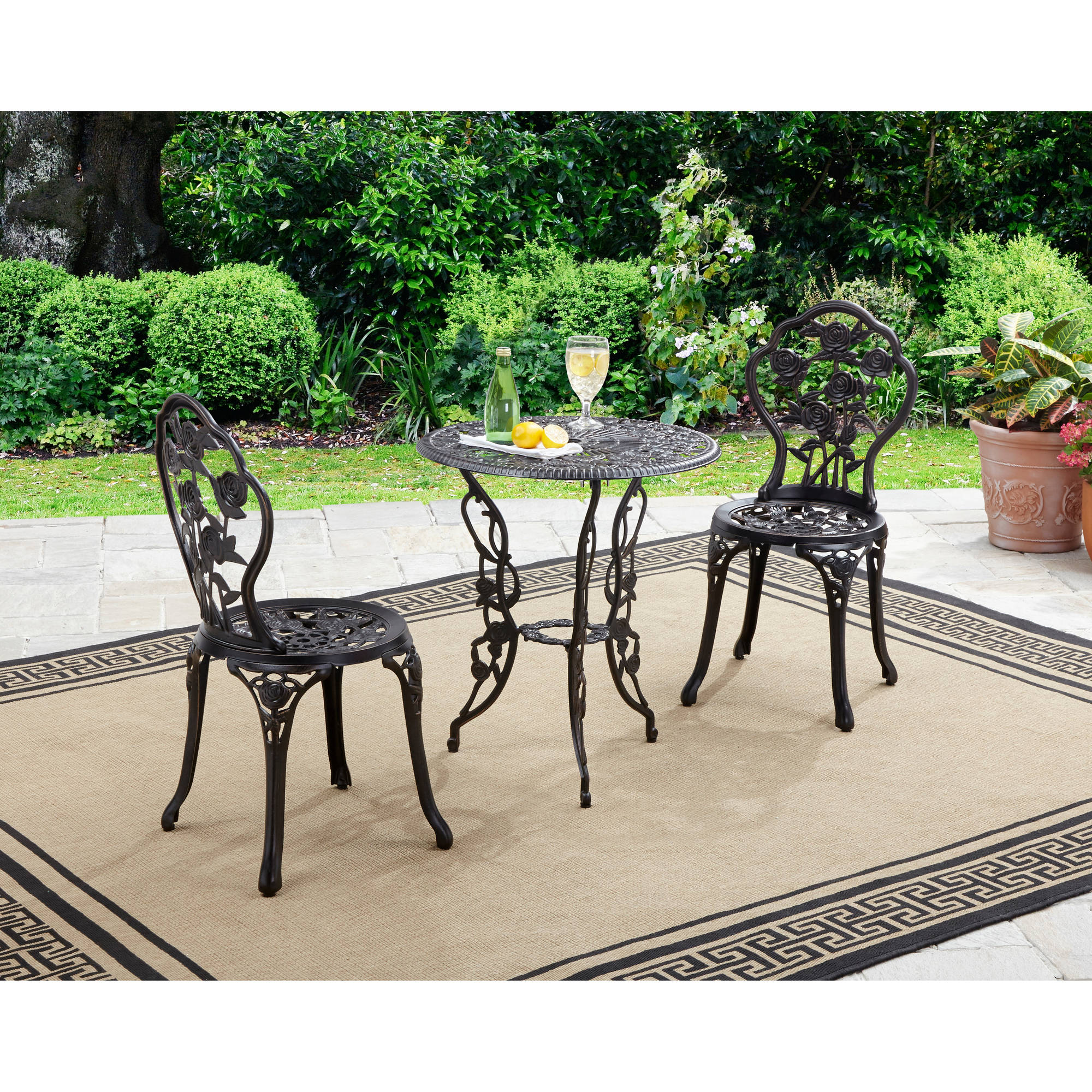 patio bistro set better homes and gardens rose 3-piece bistro set WDYTAEQ