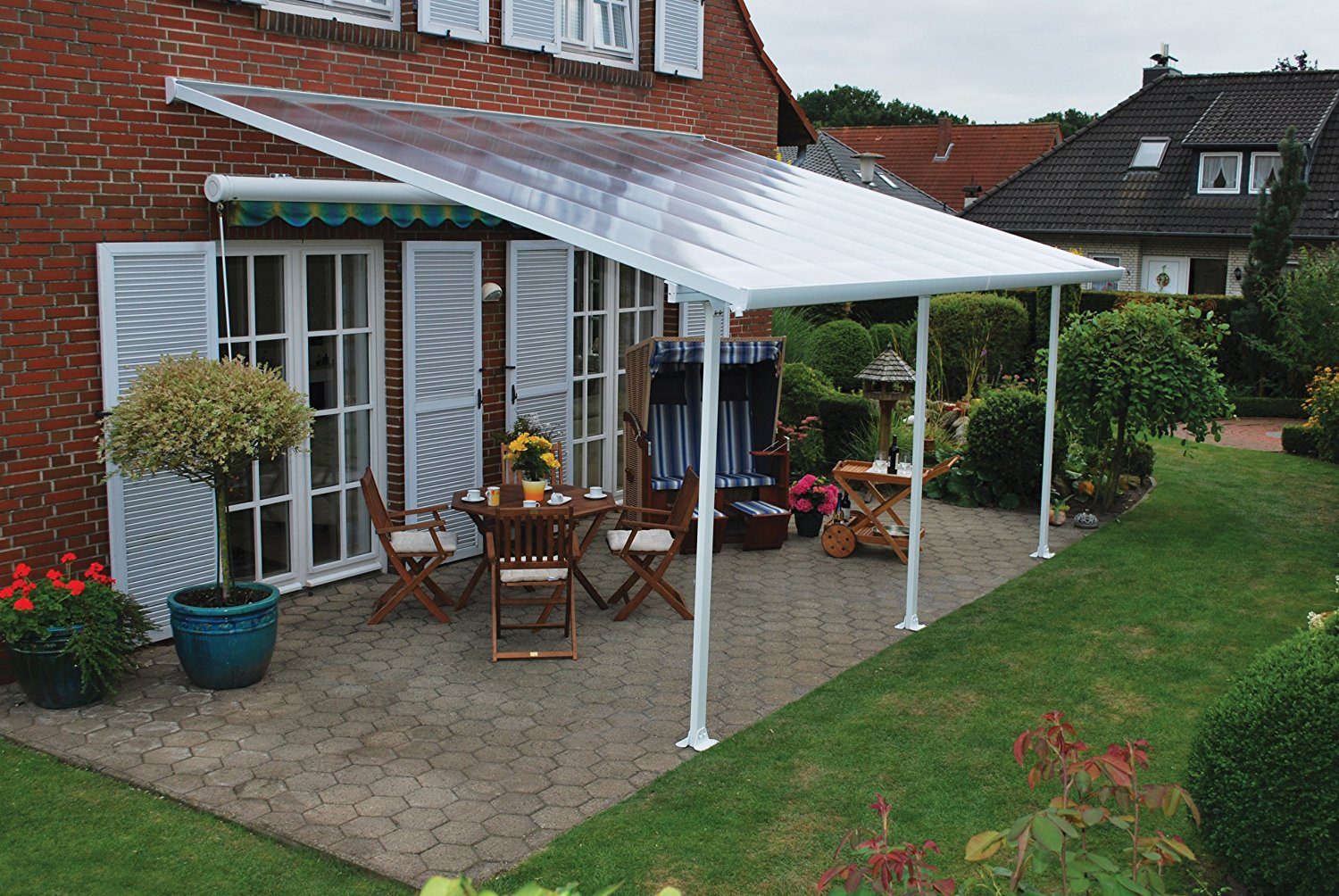patio covers amazon.com : palram feria patio cover 13 x 20 white : greenhouse parts ZIPHUMP