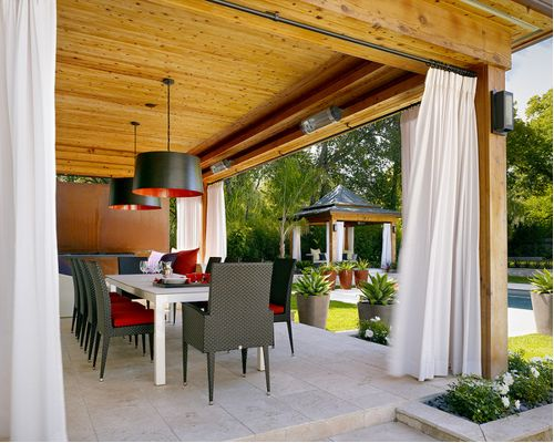 patio curtains contemporary patio idea in london with a pergola DSKGJVX