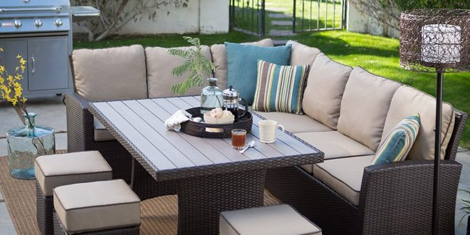 patio dining sets amazon.com : dark brown modern all weather wicker aluminum sofa sectional patio FGQXQAR