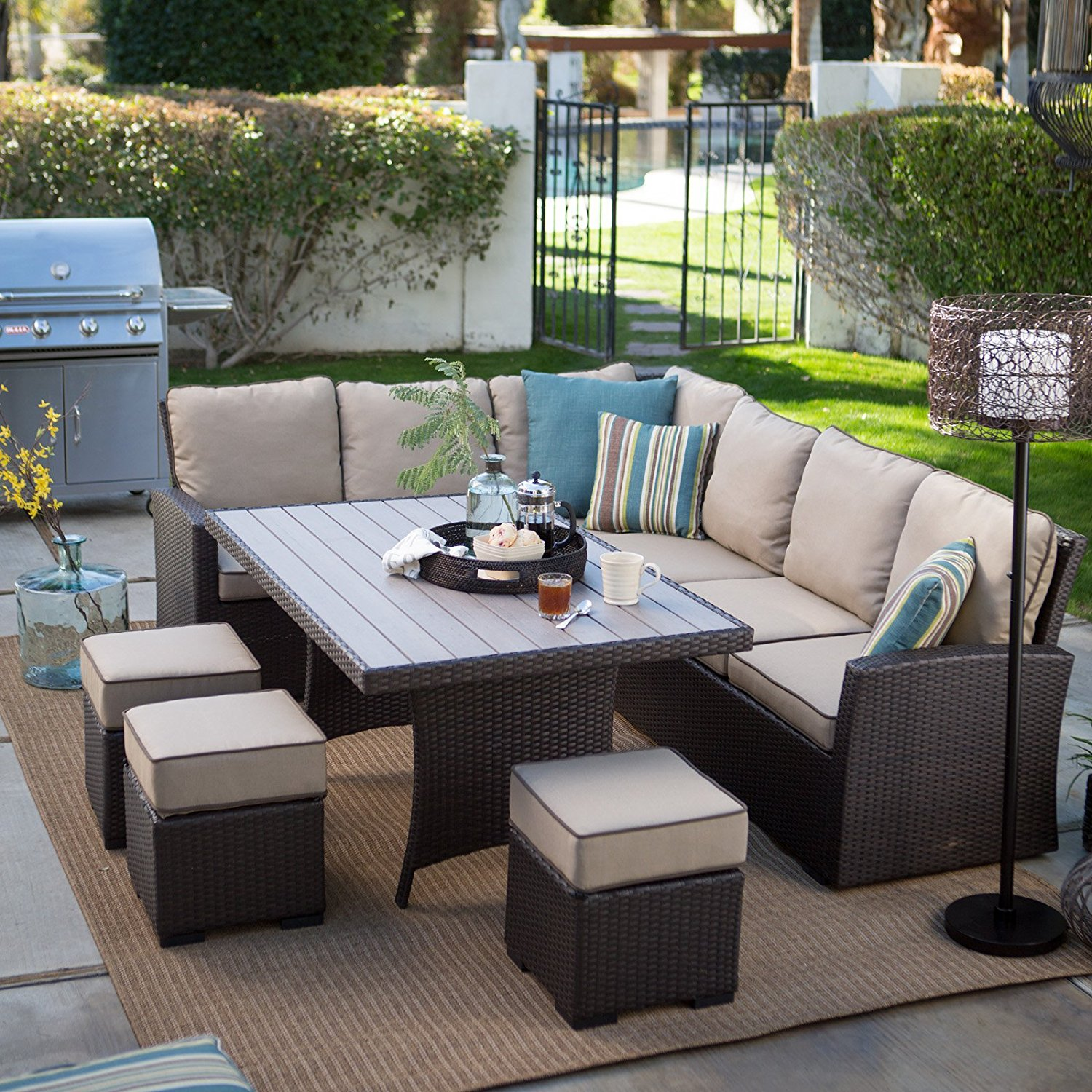 Patio Dining Sets Amazon.com : Dark Brown Modern All Weather Wicker  Aluminum Sofa Sectional