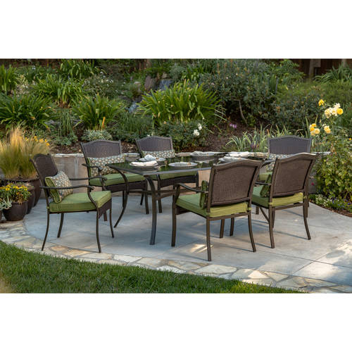 patio dining sets better homes and gardens providence 7-piece patio dining set, green, seats 6 NAEMJEL