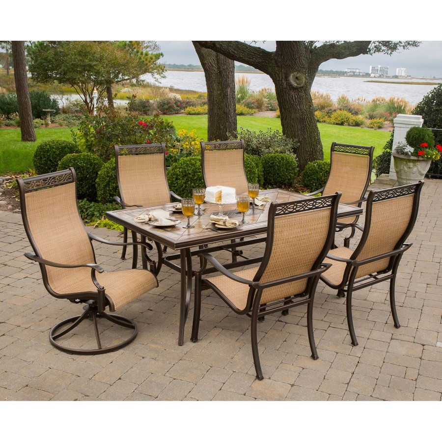 patio dining sets hanover outdoor furniture monaco bronze stone patio dining set HSHTULN