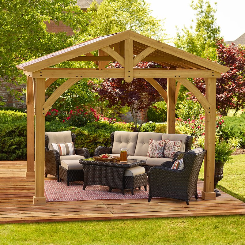 patio gazebo avery pavilion 10 ft. w x 12 ft. d wood permanent gazebo FKHUGZU