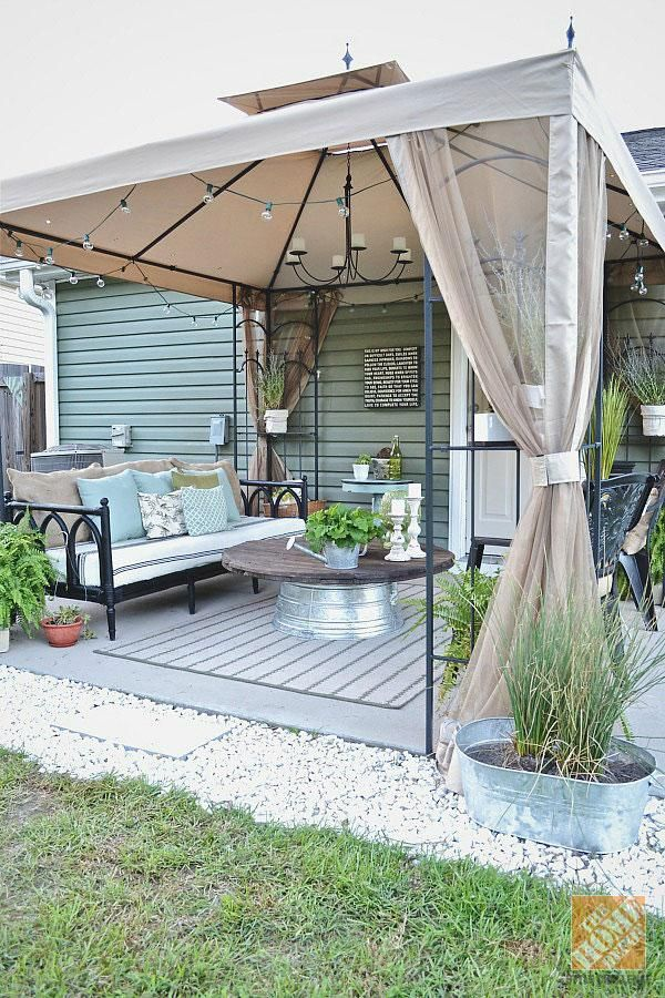 patio gazebo blogger @lizmarieblog.com transformed the look of her patio with a simple  gazebo ZUXQIXO