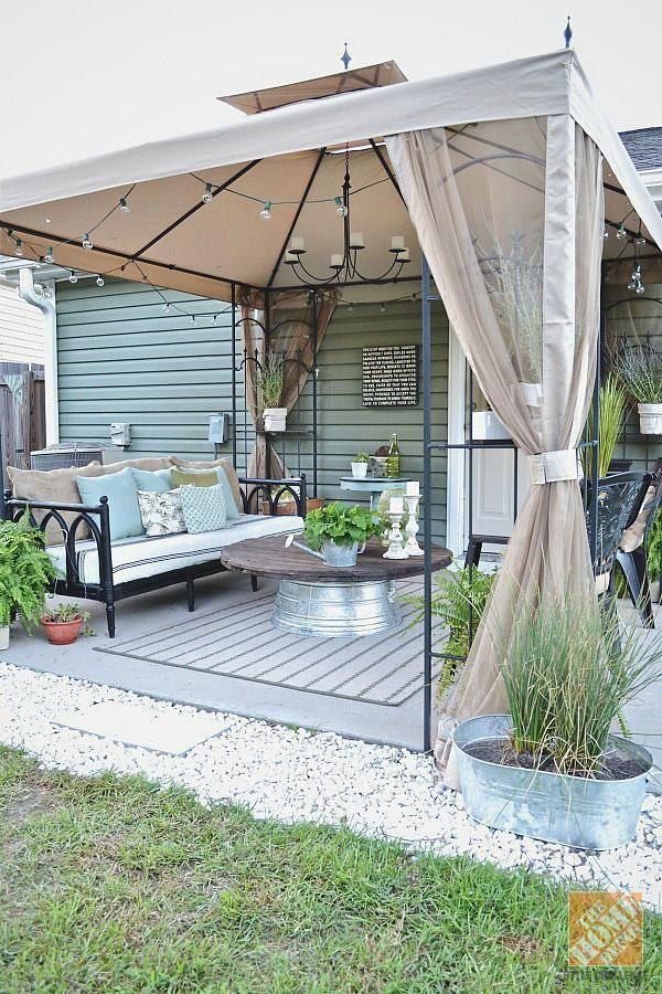 patio gazebo blogger @lizmarieblog.com transformed the look of her patio with a simple  gazebo ZUXQIXO