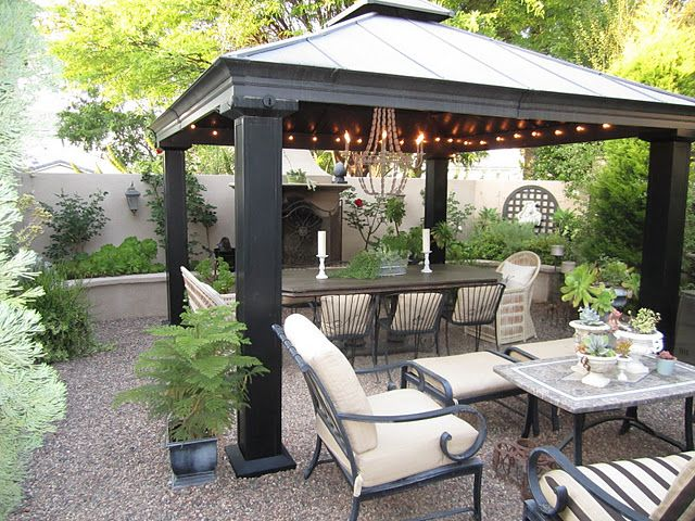 patio gazebo love the gravel patio, the metal gazebo, the lights. VZXIDQJ
