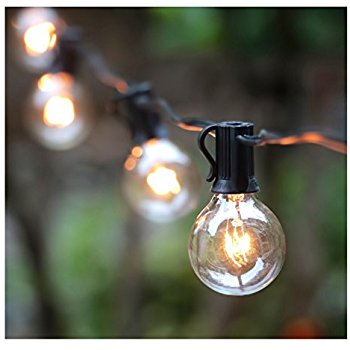 patio lights 25ft g40 globe string lights with clear bulbs, ul listed backyard patio EAQUMPN