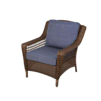 patio lounge chairs spring haven brown all-weather wicker patio lounge chair with sky blue  cushions DEDJAXY