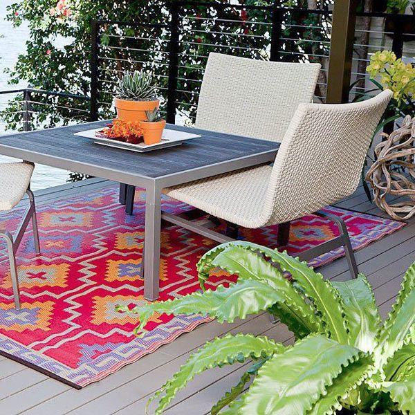 patio rugs orange and violet SIKCOST