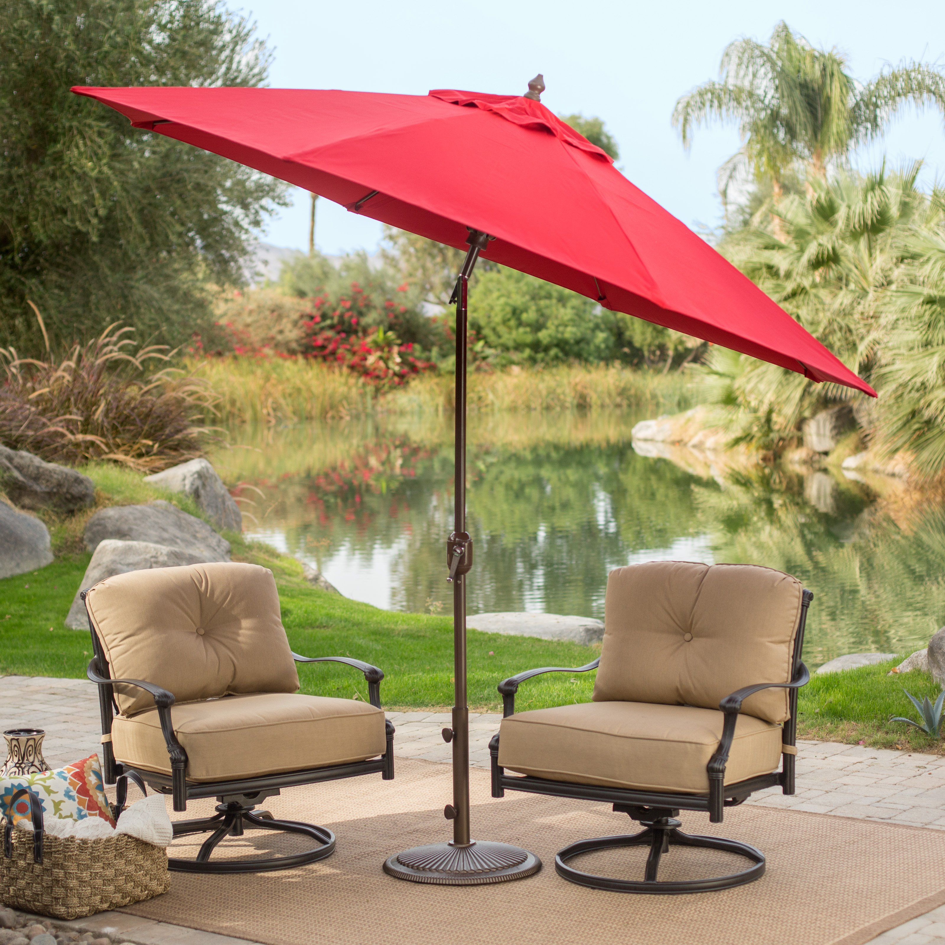 patio umbrellas sunbrella deluxe tilt aluminum patio umbrella | hayneedle PBWZCXA