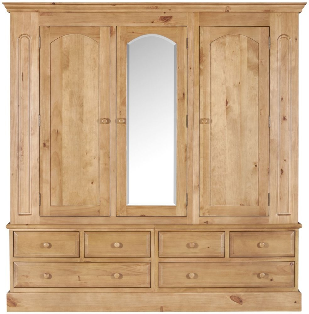 pine wardrobes welland pine triple wardrobe with mirror SUPAXYU