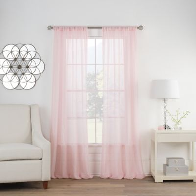 pink curtains cambria® terra 63-inch rod pocket sheer window curtain panel in pink IGBWRLG