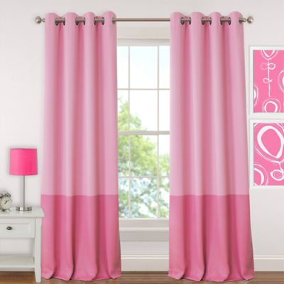 pink curtains elrene madeline 95-inch room-darkening grommet top window curtain panel in  pink LLIWDWB