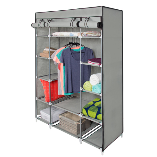 portable wardrobe 53u201d portable closet storage organizer wardrobe clothes rack with shelves  gray XCBZENA