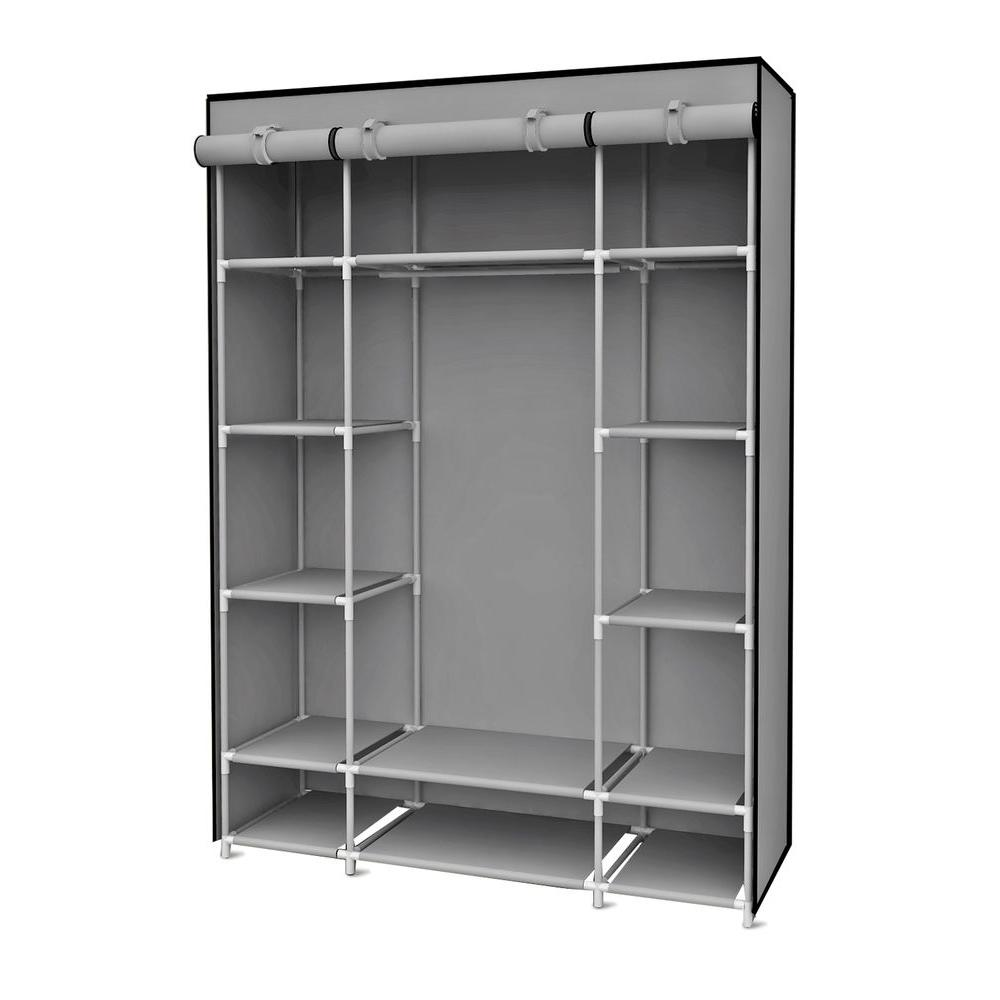 portable wardrobe 67 in. h gray storage closet with shelving EPLUPMR