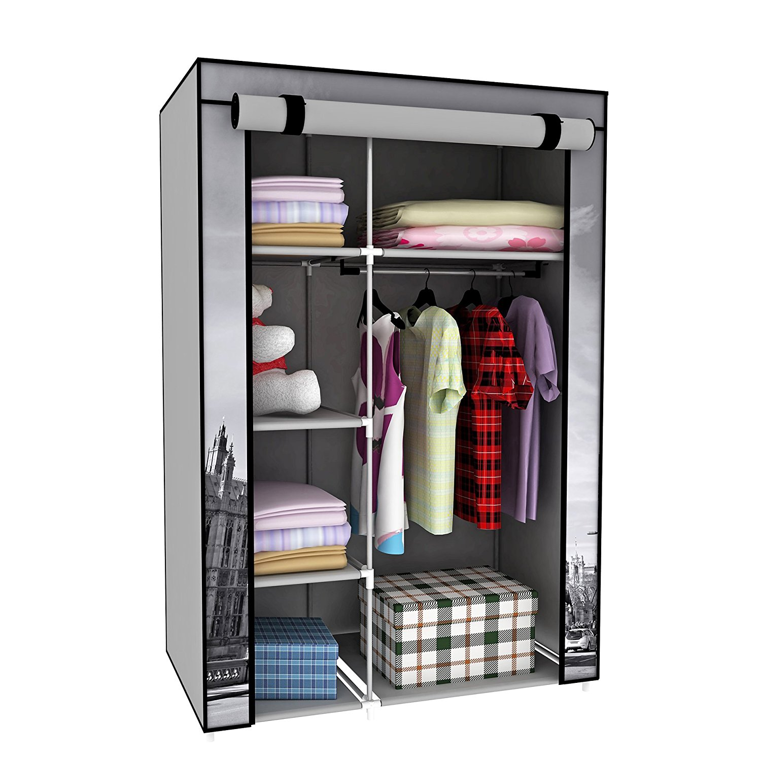 portable wardrobe amazon.com: switch innovation storage closet portable temporary clothing  wardrobe, free-standing clothes rack, OIBOPUY