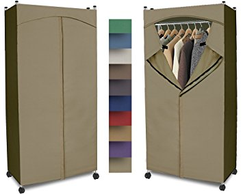 portable wardrobe closet w/ premium cotton canvas/duck cover  (72-75hx36wx18d) QPWLZGB
