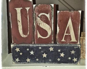 primitive home decor wooden americana block set-americana decor-americana block set-primitive MMGGHGB
