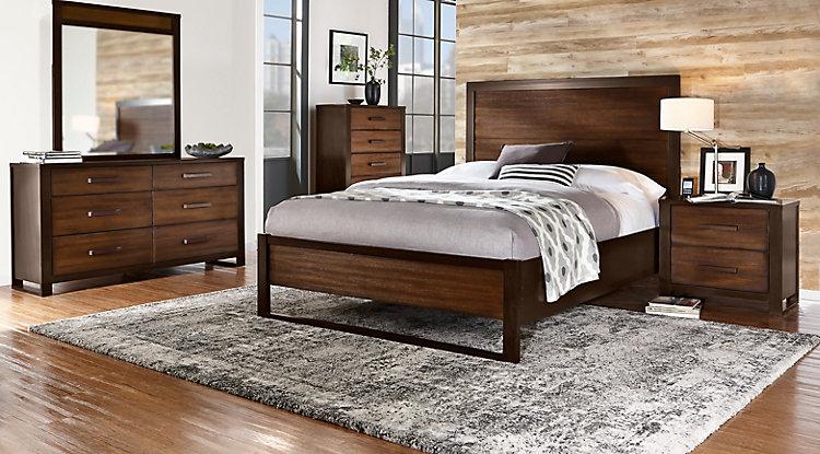 queen bedroom sets abbott hazelnut 5 pc queen panel bedroom OLAJVGQ