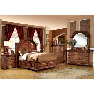queen bedroom sets furniture of america traditional style 4-piece antique tobacco oak bedroom  set RUHLMDF