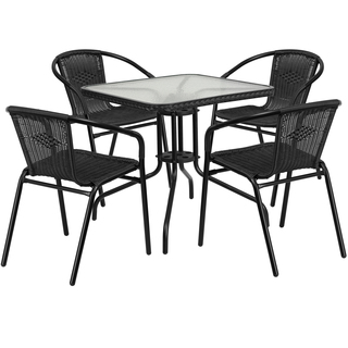 rattan outdoor furniture 28-inch square glass metal table with rattan edging and 4 rattan stack WOUSIIX