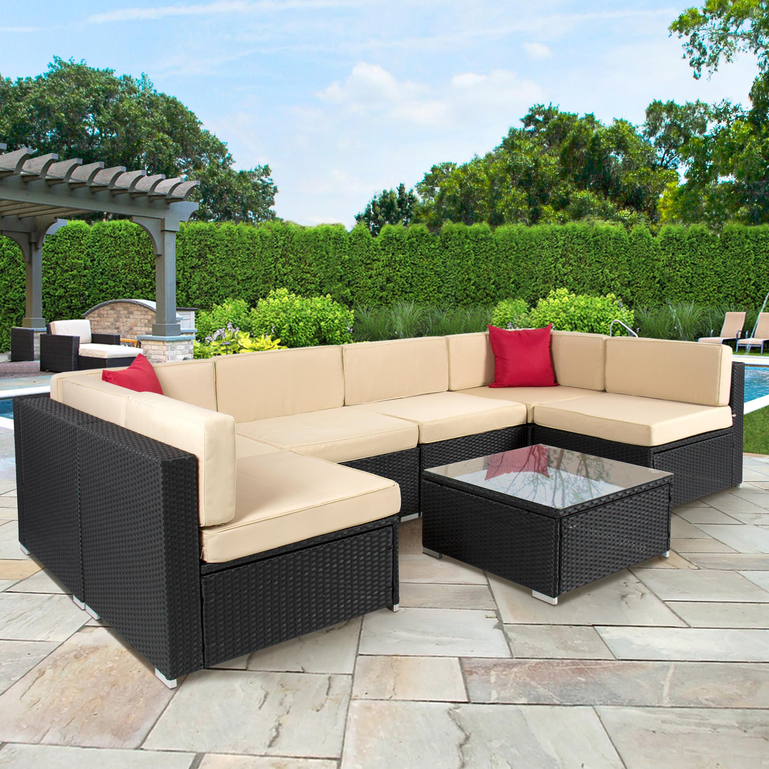 rattan outdoor furniture 4pc outdoor patio garden furniture wicker rattan sofa set black -  walmart.com REKGVER