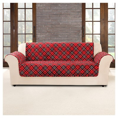 red furniture flair tartan plaid sofa cover - sure fit RASNXCD