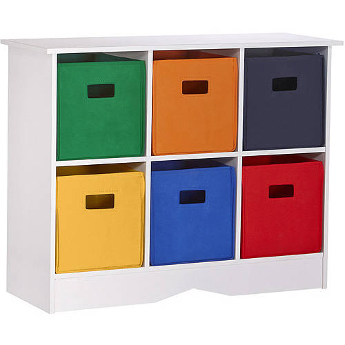 riverridge kids storage cabinet with 6 bins, white and primary tones OOBHXYX