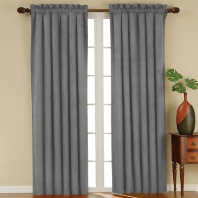 room darkening curtains solarshield® siena rod pocket 63-inch room darkening window curtain panel  in charcoal UVUJGUF