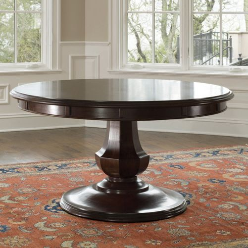 round pedestal dining table brownstone sienna round dining table - love that it has leaves GPGYFVM