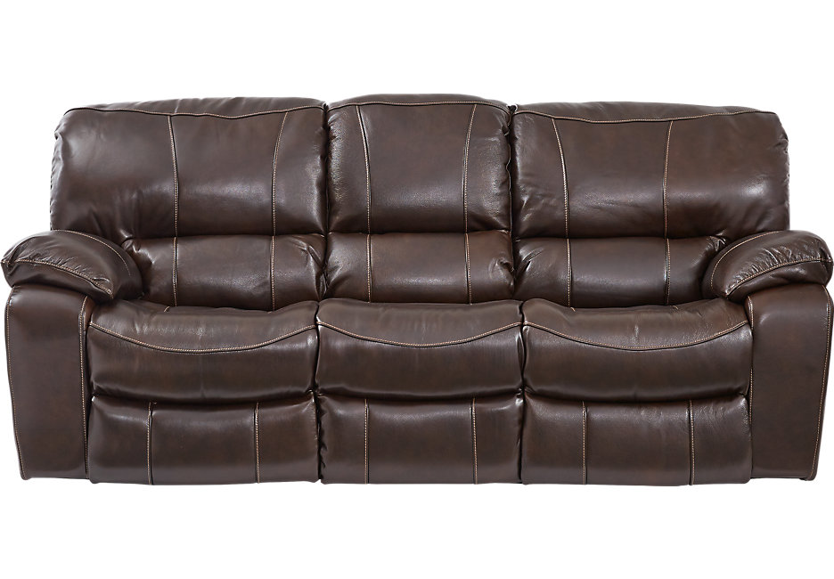 sanderson walnut leather reclining sofa - leather sofas (brown) WKFLZYP