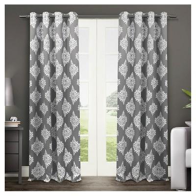 set of 2 / pair medallion blackout thermal grommet top window curtain panels QZERTSX