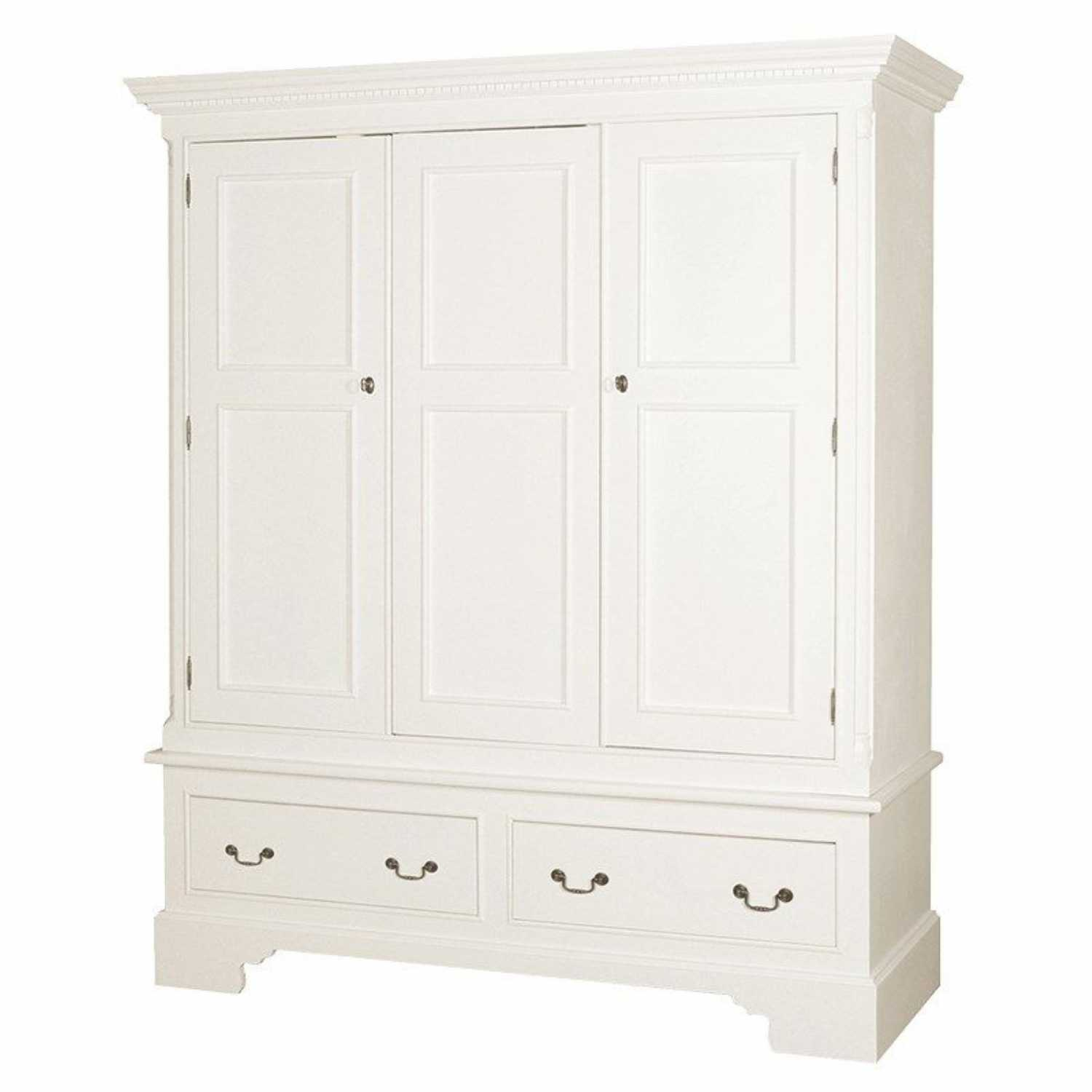 shabby chic wardrobe georgian shabby chic white painted triple 3 door 2 drawer wardrobe BQZDZYL