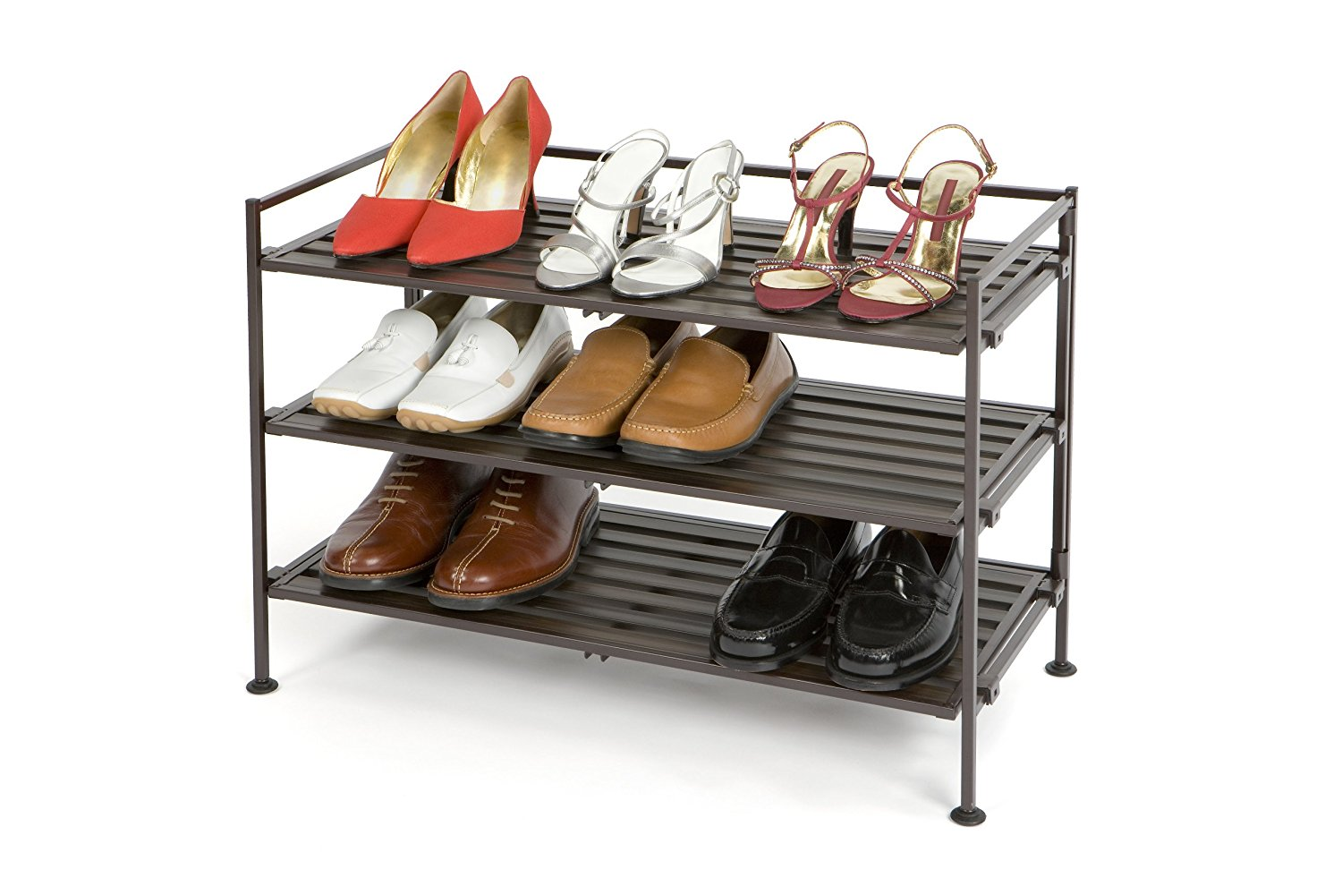 shoe racks amazon.com: seville classics 3-tier resin slat utility shoe rack, espresso:  home u0026 NIWOQZN