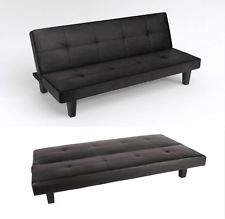 sienna black faux leather click clack 3 seater small double sofa bed RNOOPNR