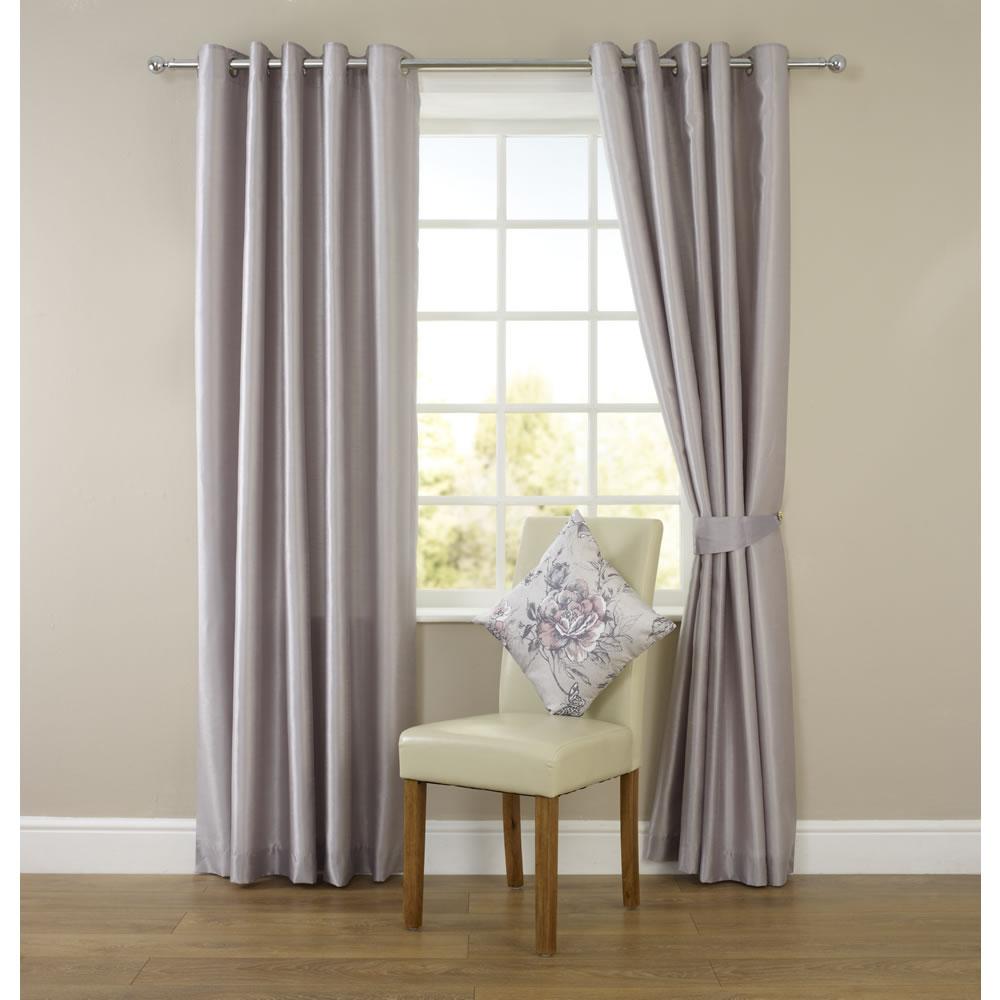silk curtains wilko faux silk eyelet curtains silver ... NMUDYLB