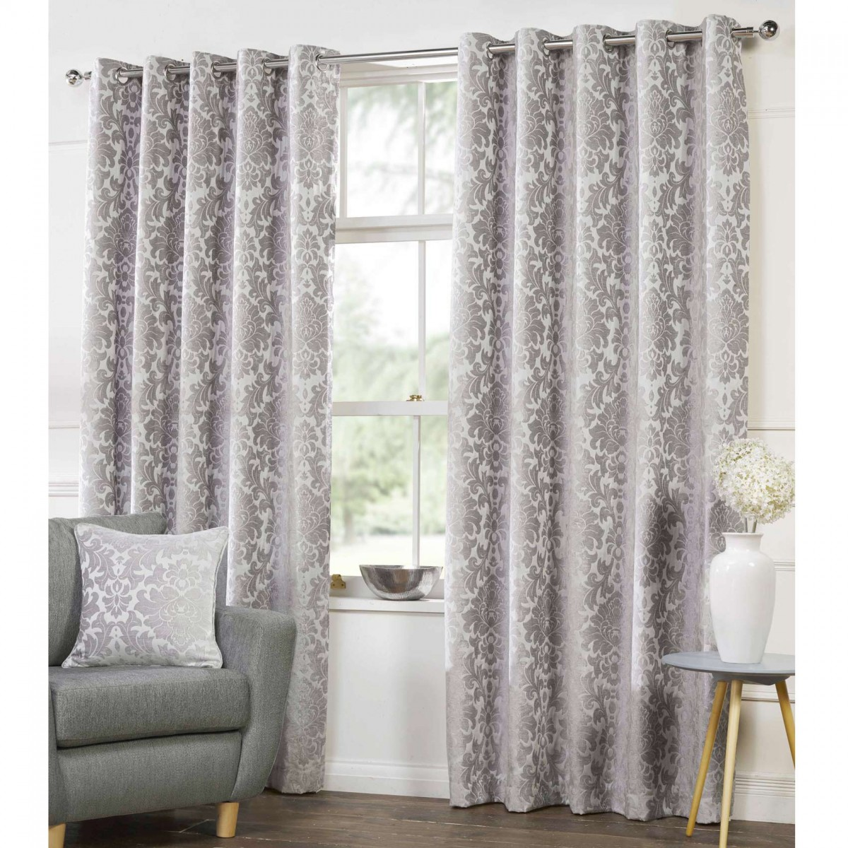 silver curtains 40% off camden damask woven chenille lined eyelet curtains - silver PJKPNDS