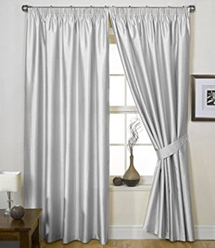 silver curtains charisma faux silk curtains, lined tape top curtains, ready made pencil  pleat CEAJDED