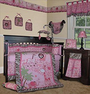 sisi baby girl bedding - pink safari 13 pcs crib nursery bedding JNXCEDV