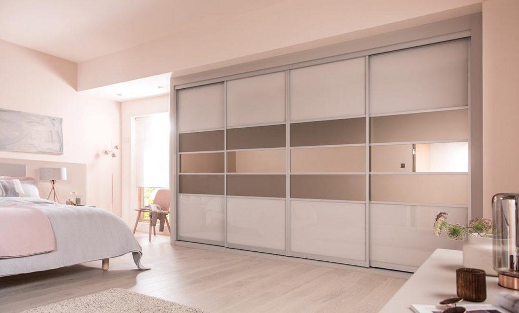 sliding door wardrobes cashmere u0026 satin bronze glass with bronze mirror QGOZWJV