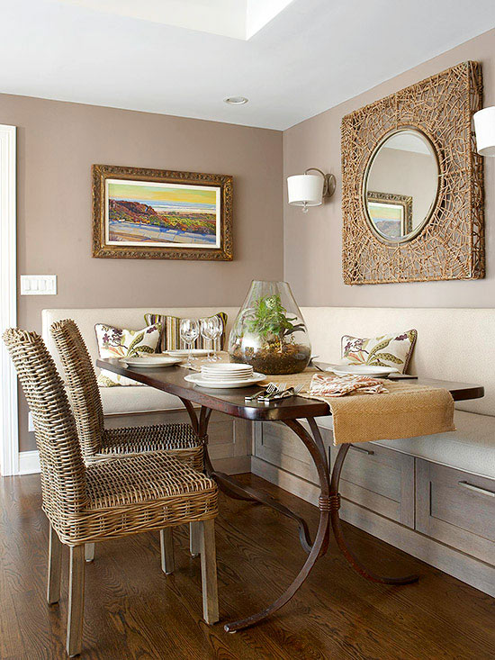 small dining room ideas neutral dining nook ZKFLZCR