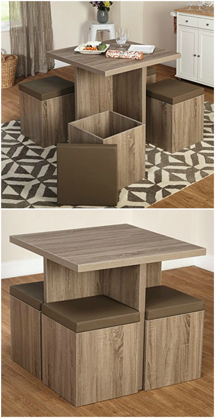 small dining table dining table with four storage ottomans ($182.31). this small table is  ideal YYAIFUP