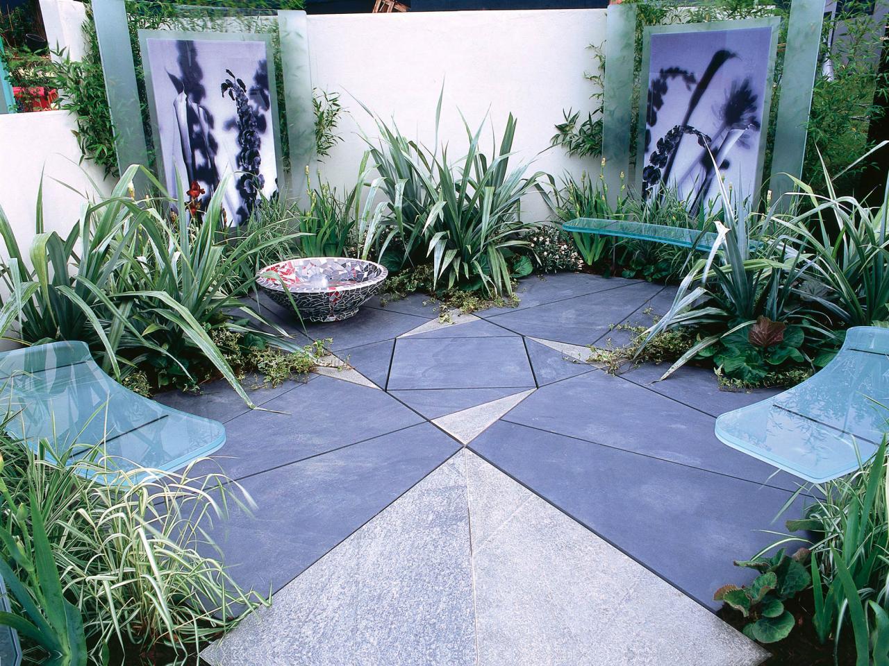 small gardens ambient lighting softens shadows in evening garden DQCKGTF