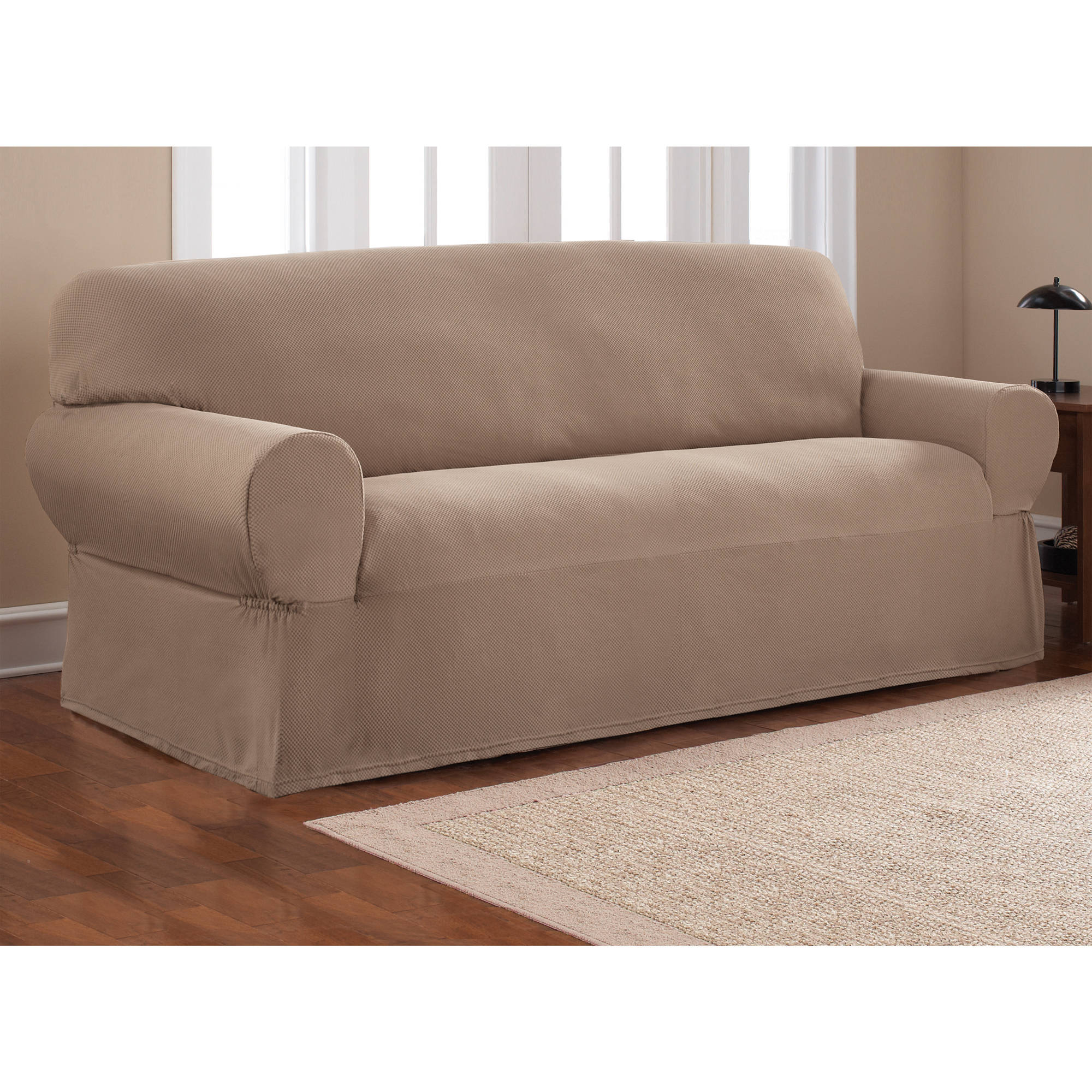 sofa cover mainstays 1-piece stretch fabric sofa slipcover - walmart.com BUQSDKZ