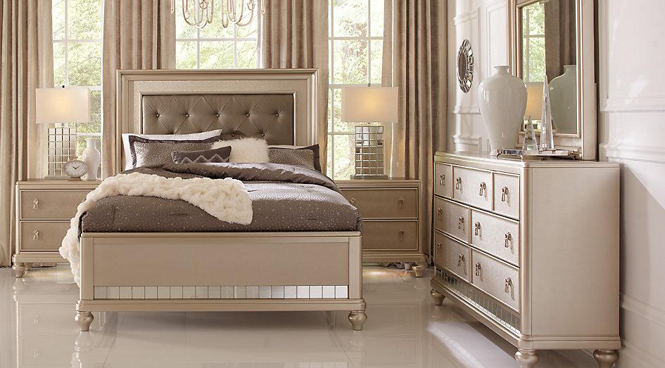 sofia vergara paris silver 5 pc queen bedroom - queen bedroom sets colors EKHZFTA